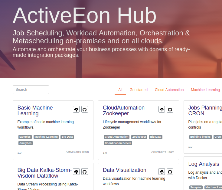 screenshot of Activeeon hub where package, connectors, plugins can be shared
