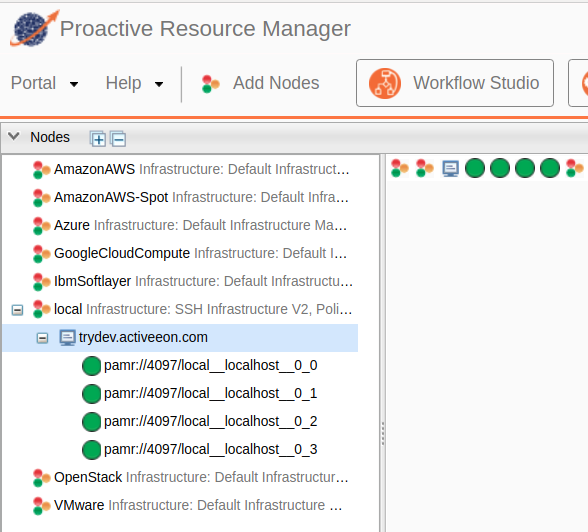 screenshot of ProActive resource manager