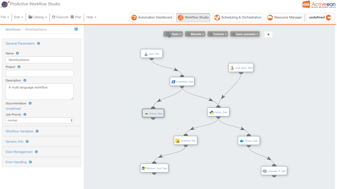 Screenshot from a workflow from ProActive Workflows and Scheduling